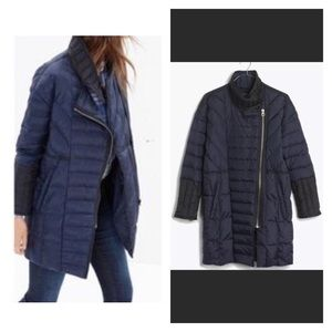 madewell navy black quilted down coat